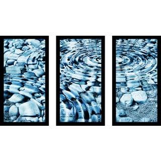 """Water Stones 1"" Framed Plexiglass Wall Art Set of 3"