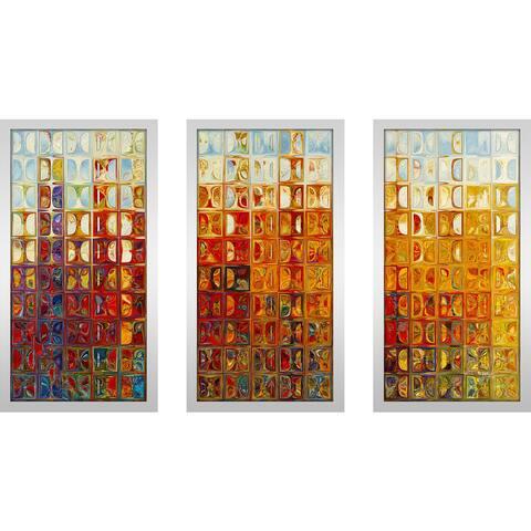 """Mark Lawrence """"Tile Art 1 2015 Max"""" Framed Plexiglass Wall Art Set of 3"""