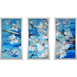 """Botanic Blues"" Framed Plexiglass Wall Art Set of 3"
