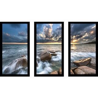 """Ocean Bliss"" Framed Plexiglass Wall Art Set of 3"