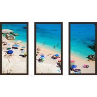 """Beach Please Xx"" Framed Plexiglass Wall Art Set of 3"