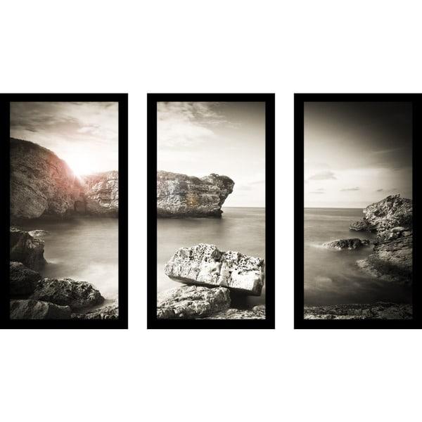 Black white ocean sunset framed plexiglass wall art set of 3