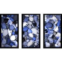 """Water Stones 12"" Framed Plexiglass Wall Art Set of 3"