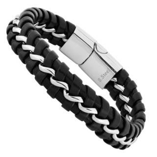 Men's Black Leather and Stainless Steel Bracelet