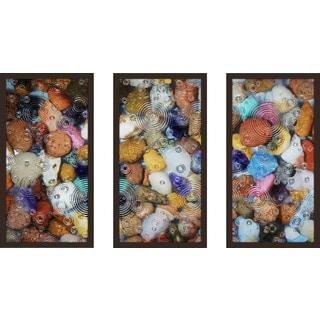 """Water Stones 11"" Framed Plexiglass Wall Art Set of 3"