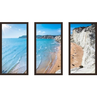 """Scala Dei Turchi, Sicily, Italy"" Framed Plexiglass Wall Art Set of 3"