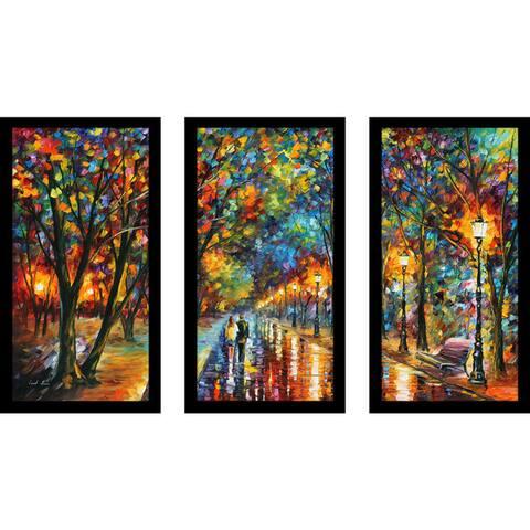 "Leonid Afremov ""When The Dreams Came True"" Framed Plexiglass Wall Art Set of 3"