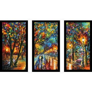 "Leonid Afremov ""When The Dreams Came True"" Framed Plexiglass Wall Art Set of 3"