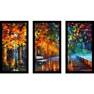 "Leonid Afremov ""Way To Home 2"" Framed Plexiglass Wall Art Set of 3"