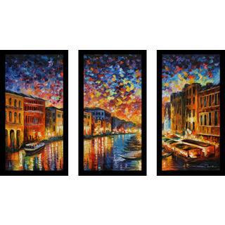 "Leonid Afremov ""Venice Grand Canal"" Framed Plexiglass Wall Art Set of 3"