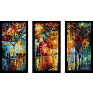 "Leonid Afremov ""The Tears Of The Fall"" Framed Plexiglass Wall Art Set of 3"