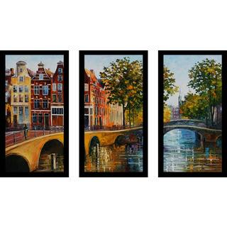 "Leonid Afremov ""The Gateway To Amsterdam"" Framed Plexiglass Wall Art Set of 3"
