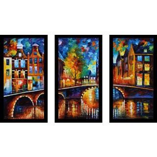 "Leonid Afremov ""The Bridges Of Amsterdam"" Framed Plexiglass Wall Art Set of 3"