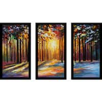 "Leonid Afremov ""Sun Of January"" Framed Plexiglass Wall Art Set of 3"