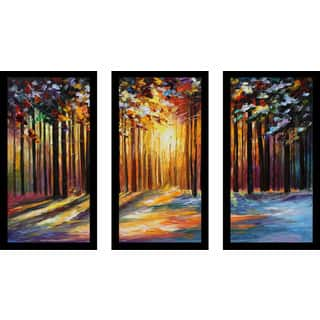 "Leonid Afremov ""Sun Of January"" Framed Plexiglass Wall Art Set of 3"