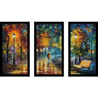 "Leonid Afremov ""Soul Of The Rain"" Framed Plexiglass Wall Art Set of 3"