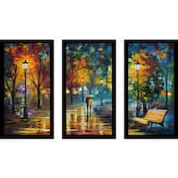 "Leonid Afremov ""Soul Of The Rain"" Framed Plexiglass Wall Art Set of 3"