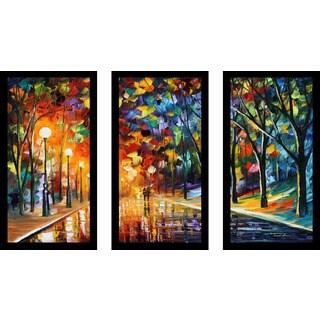 """Leonid Afremov """"Romantic Evening 1"""" Framed Plexiglass Wall Art Set of 3"""