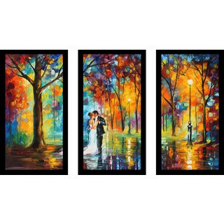 "Leonid Afremov ""Rainy Wedding"" Framed Plexiglass Wall Art Set of 3"
