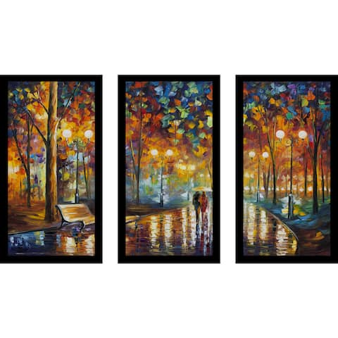 "Leonid Afremov ""Rains Rustel"" Framed Plexiglass Wall Art Set of 3"