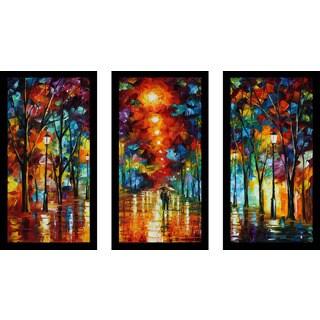 """Leonid Afremov """"Night Park"""" Framed Plexiglass Wall Art Set of 3"""