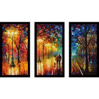 """Leonid Afremov """"Night Happines"""" Framed Plexiglass Wall Art Set of 3"""
