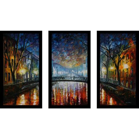 "Leonid Afremov ""Misty Bridge"" Framed Plexiglass Wall Art Set of 3"
