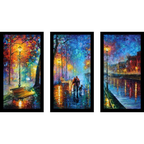 "Leonid Afremov ""Melody Of The Night"" Framed Plexiglass Wall Art Set of 3"