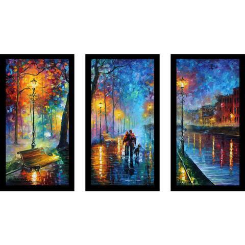 "Leonid Afremov ""Melody Of The Night"" Framed Plexiglass Wall Art Set of 3"