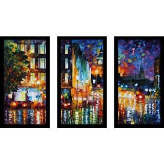 """Leonid Afremov """"Londons Lights"""" Framed Plexiglass Wall Art Set of 3"""