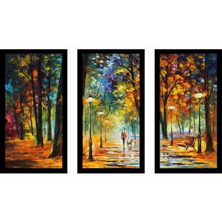 "Leonid Afremov ""Improvisation Of Nature"" Framed Plexiglass Wall Art Set of 3"