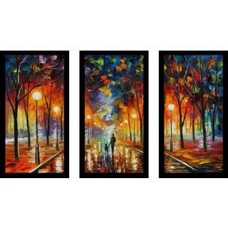 "Leonid Afremov ""Friendship"" Framed Plexiglass Wall Art Set of 3"
