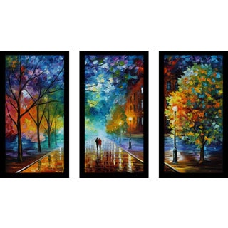 "Leonid Afremov ""Freshness Of Cold"" Framed Plexiglass Wall Art Set of 3"