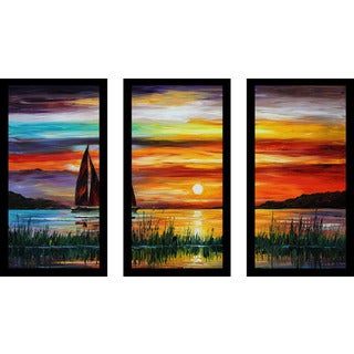 "Leonid Afremov ""Florida-Lake Okeechobee"" Framed Plexiglass Wall Art Set of 3"