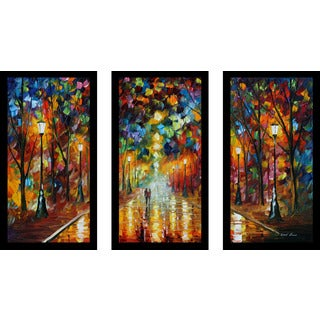 "Leonid Afremov ""Farewell To Anger"" Framed Plexiglass Wall Art Set of 3"
