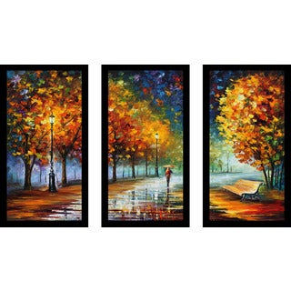 "Leonid Afremov ""Fall Marathon"" Framed Plexiglass Wall Art Set of 3"