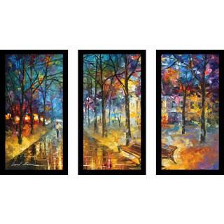 "Leonid Afremov ""Colors Of My Past"" Framed Plexiglass Wall Art Set of 3"