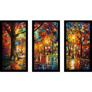 "Leonid Afremov ""Colorful Night"" Framed Plexiglass Wall Art Set of 3"