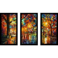 "Leonid Afremov ""Colorful Night"" Framed Plexiglass Wall Art Set of 3"