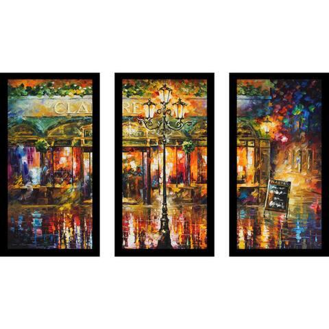 "Leonid Afremov ""Clarens"" Framed Plexiglass Wall Art Set of 3"