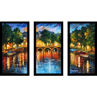 "Leonid Afremov ""Amsterdam, The Release Of Happiness"" Framed Plexiglass Wall Art Set of 3"