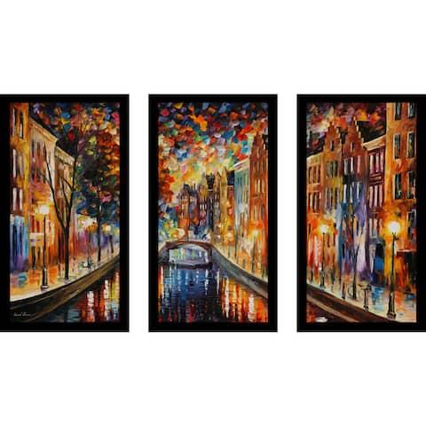 "Leonid Afremov ""Amsterdam, Night Canal"" Framed Plexiglass Wall Art Set of 3"