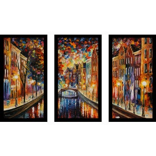 "Leonid Afremov ""Amsterdam, Night Canal"" Framed Plexiglass Wall Art Set of 3"