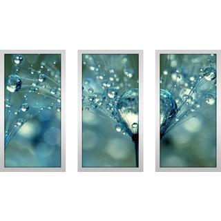 """Sharon Johnstone """"Blue Sparkles"""" Framed Plexiglass Wall Art Set of 3"""