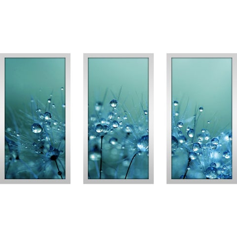 "Sharon Johnstone ""Blue Shower"" Framed Plexiglass Wall Art Set of 3"
