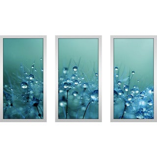 """Sharon Johnstone """"Blue Shower"""" Framed Plexiglass Wall Art Set of 3"""