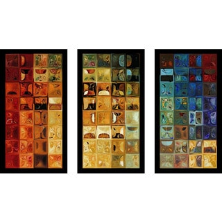 "Mark Lawrence ""Tile Art 22 2008 Max"" Framed Plexiglass Wall Art Set of 3"