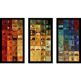 """Mark Lawrence """"Tile Art 22 2008 Max"""" Framed Plexiglass Wall Art Set of 3"""