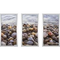 """Water Stones 10"" Framed Plexiglass Wall Art Set of 3"