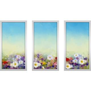 """Sunshine And Daisies"" Framed Plexiglass Wall Art Set of 3"